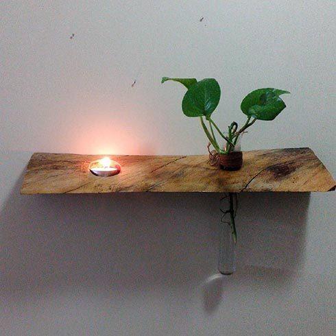 گلدان و شمعدانی چوبی دکوری