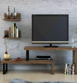 میز تلویزیون طرح چوب و فلز