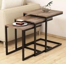 میز عسلی چوبی فلزی دکوری