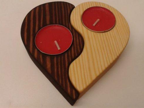 شمعدانی چوبی طرح قلب