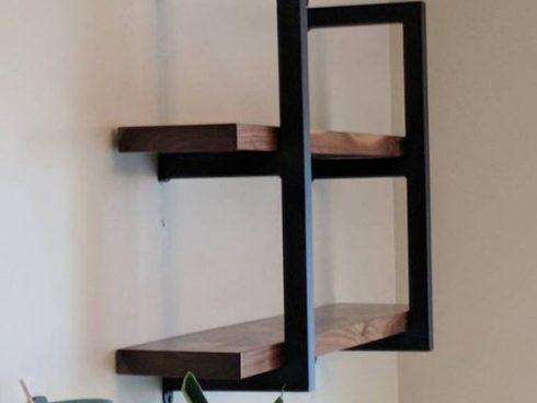 قفسه 2 طبقه چوب و فلز