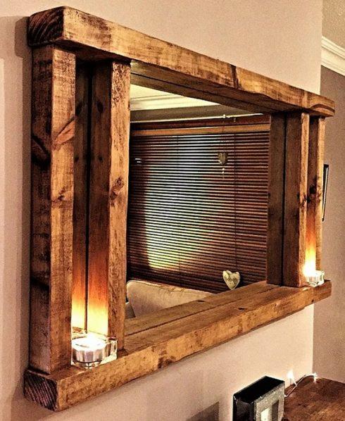 قاب آینه چوبی دکوری