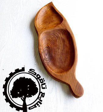 ظرف چوبی طرح برگ کوچک